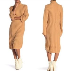 FREE PRESS | Ribbed Knit Turtleneck Midi Dress NEW